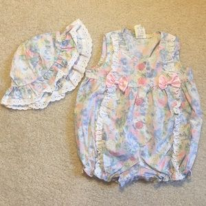 Worn once pretty baby one piece romper with hat